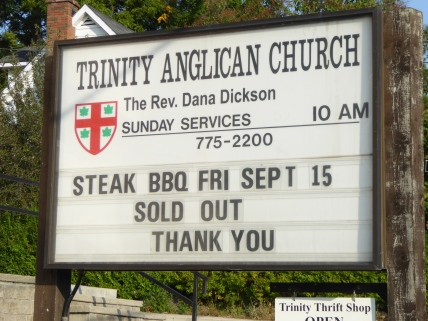 Steak dinner sold out sign
