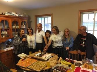 left-right: Feryal, Sawsan, Birnard, Maryam, Yasameen, Susilia, Sam. It was Sawsan's birthday!